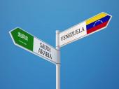 Saudi Arabia Venezuela  Sign Flags Concept — Stock fotografie