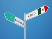 Kazakhstan Mexico Sign Flags Concept — Stock Photo