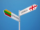 Lithuania Georgia  Sign Flags Concept — Foto Stock