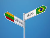 Lithuania Brazil  Sign Flags Concept — Stock Photo
