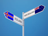 Iceland New Zealand  Sign Flags Concept — Stockfoto