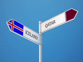 Iceland Qatar  Sign Flags Concept — Stockfoto