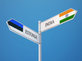Estonia India  Sign Flags Concept — Zdjęcie stockowe