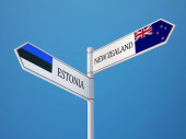 Estonia New Zealand  Sign Flags Concept — Stock Photo