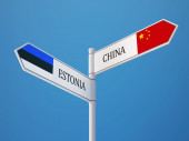 Estonia China  Sign Flags Concept — Zdjęcie stockowe