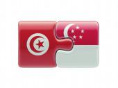 Tunisia Singapore  Puzzle Concept — Stock Photo