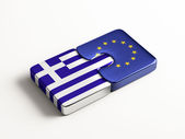 European Union Greece  Puzzle Concept — Stock Photo