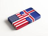 Iceland United States  Puzzle Concept — Stock Photo