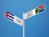 South Africa Cuba  Sign Flags Concept — Stock Photo