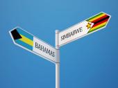 Zimbabwe Bahamas Sign Flags Concept — Stock Photo