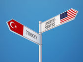 United States Turkey  Sign Flags Concept — Stock Photo