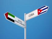 Cuba United Arab Emirates Sign Flags Concept — Stock Photo