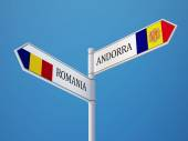 Romania Andorra  Sign Flags Concept — Stock Photo