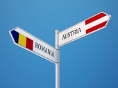 Romania Austria  Sign Flags Concept — Stock Photo