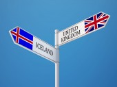 Iceland United Kingdom  Sign Flags Concept — Stock Photo