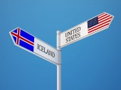 Iceland United States  Sign Flags Concept — Stock Photo