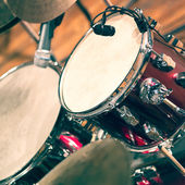 Drum set on stage — Stock Photo