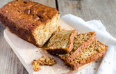 Loaf of banana bread with apple confiture — Stock Photo