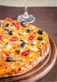 Pizza with seafood — Stock Photo