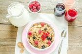 Wholegrain granola with milk and fresh berries — Stock Photo