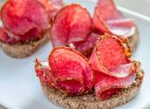 Sandwiches with italian salami — Stock Photo