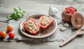 Stuffed peppers with meat in rustic decor — Stock Photo