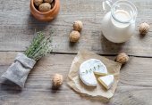 Camembert with pitcher of milk and whole nuts — Stock Photo
