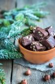 Fudge with hazelnuts — Stock Photo