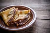 Crepes with chocolate cream — Stock Photo