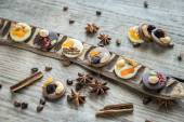 Swiss chocolate candies with nuts and dried fruits — Stock Photo