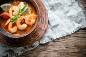 Spicy french soup with seafood — Stock Photo