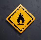 Metal sign fire — Stock Vector