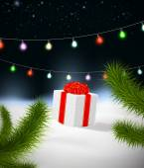Noel hediye ile arka — Vector de stock