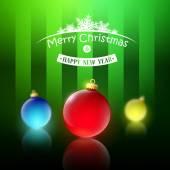 クリスマス ボールとクリスマスの背景 — ストックベクタ