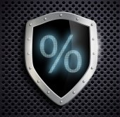 Metal shield which shows the percent sign — Stock Vector