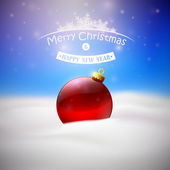 Christmas background with Red Christmas tree ball — Vettoriale Stock