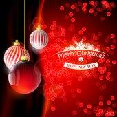 クリスマスの背景に赤のボール — ストックベクタ