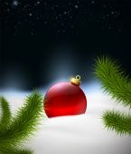 Christmas background with Christmas ball in the snow — Vettoriale Stock