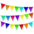 Colorful bunting and garland set isolated on white  — Stock Vector #68428857
