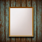 Picture frame hanging on old wooden wall — Stock Vector
