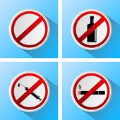 Signs that prohibit bad habits — Stock Vector