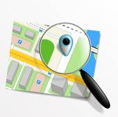 Pointer on the map and magnifying glass — ストックベクタ