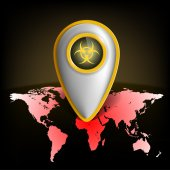 Pointer with the biohazard symbol on a map of the earth — Stock Vector