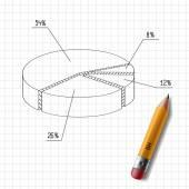 Gráfico desenhado em uma folha de caderno e lápis de madeira — Vetor de Stock