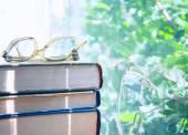 Reading glasses lying on an books — Foto de Stock