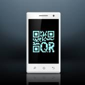 Scanning qr code on the screen of your smartphone — Stock Vector