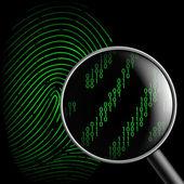 Fingerprint and magnifying glass — Stock Vector