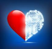 Human heart with the circuit board inside — Stockvector