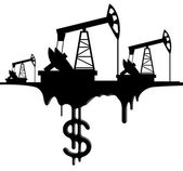 Silhouette pumpjack and oil with the dollar — Stock Vector