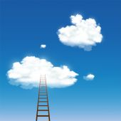 Staircase leading to the clouds — Stock Vector